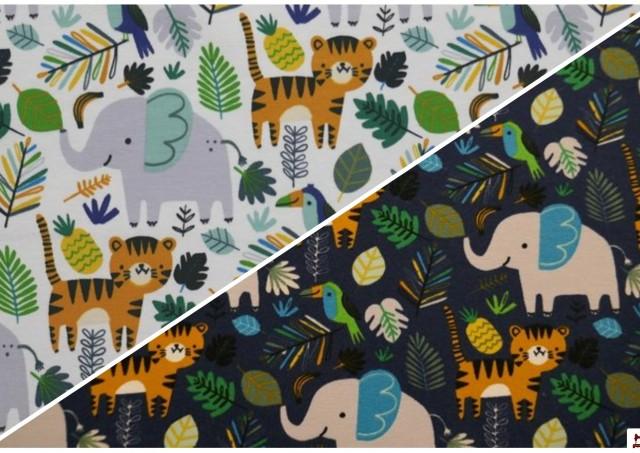 Venta online de Tela de Sudadera Fina Tigres y Elefantes color Azul Marino