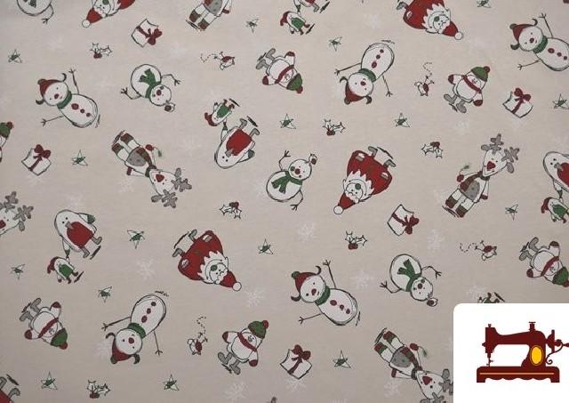 Loneta estampada Navidad Muñecos de Nieve