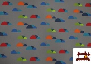 Tela de SOFTSHELL estampado Montañas de colores