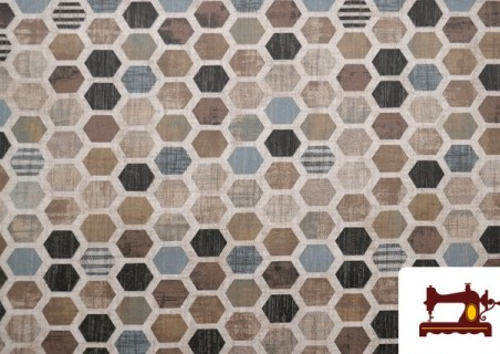 Tela de Loneta Impermeable Estampada con Dibujo Geométrico Irregular Multicolor