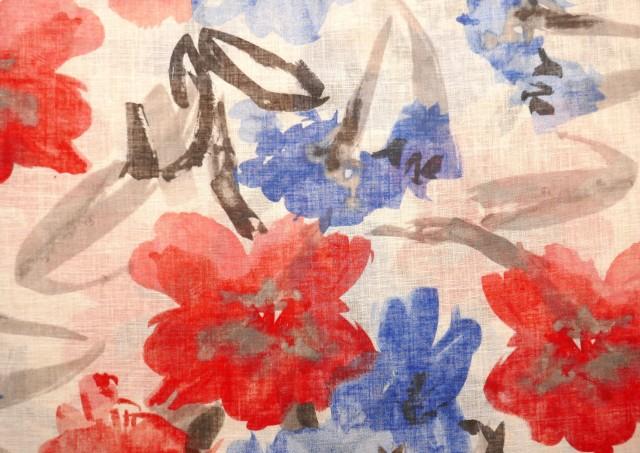 Tela de Cortina Lino y Poliéster Estampado de Flores Grandes