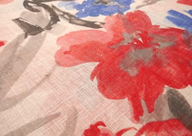 Venta de Tela de Cortina Lino y Poliéster Estampado de Flores Grandes