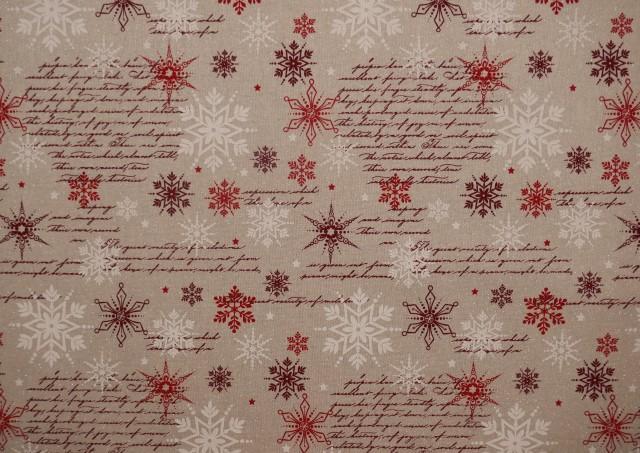Tela Roja de Navidad con Copos de Nieve y Escrituras