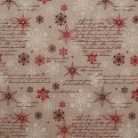 Tela Roja de Navidad con Estrellas Doradas