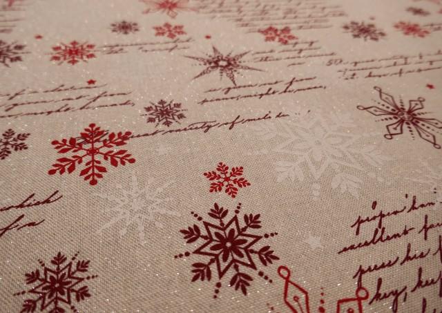Comprar Tela Roja de Navidad con Copos de Nieve y Escrituras