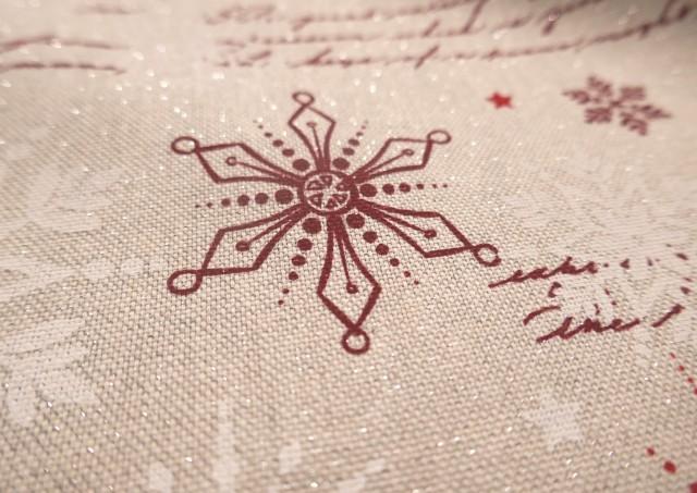 Venta de Tela Roja de Navidad con Copos de Nieve y Escrituras