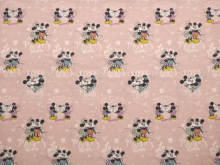 Tela de Popelín de Algodón Mickey y Minnie Kiss