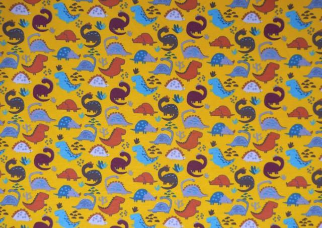 Comprar online Tela de Sudadera Fina Camiseta con Dinosaurios Prehistoria color Azul Marino