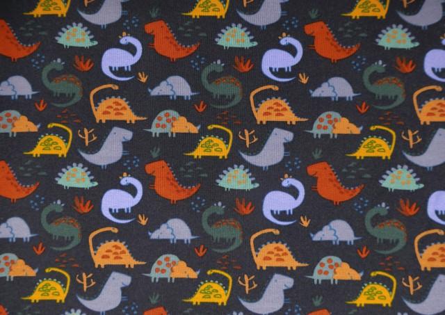 Venta online de Tela de Sudadera Fina Camiseta con Dinosaurios Prehistoria color Azul Marino
