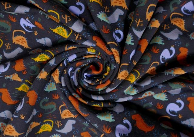 Tela de Sudadera Fina Camiseta con Dinosaurios Prehistoria color Azul Marino