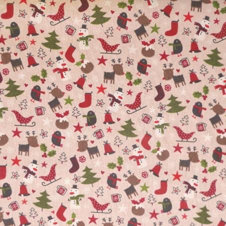 Tela de Algodón Navidad con Arbolitos y Renos Infantil