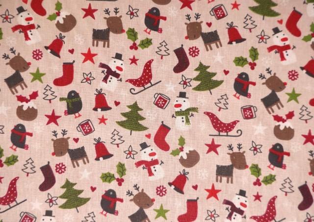 Comprar Tela de Algodón Navidad con Arbolitos y Renos Infantil
