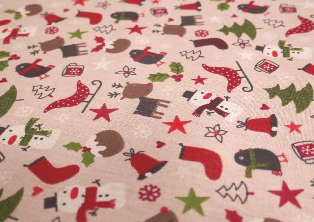 Venta de Tela de Algodón Navidad con Arbolitos y Renos Infantil