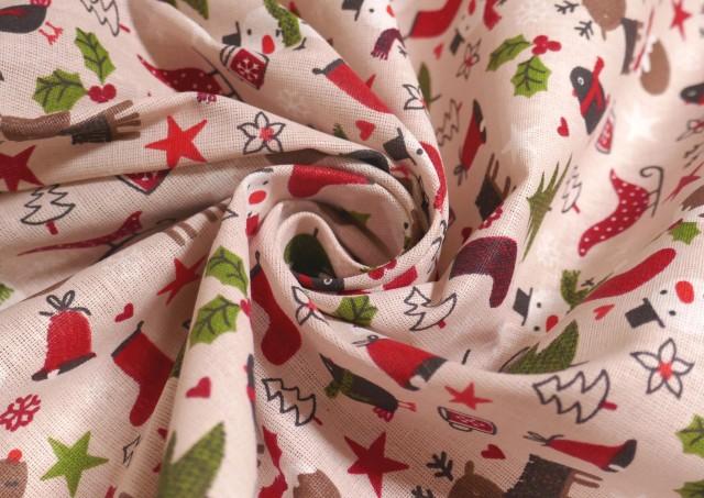 Comprar online Tela de Algodón Navidad con Arbolitos y Renos Infantil