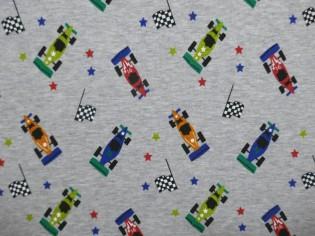 Tela de Sudadera Flannel Estampada de Coches F1