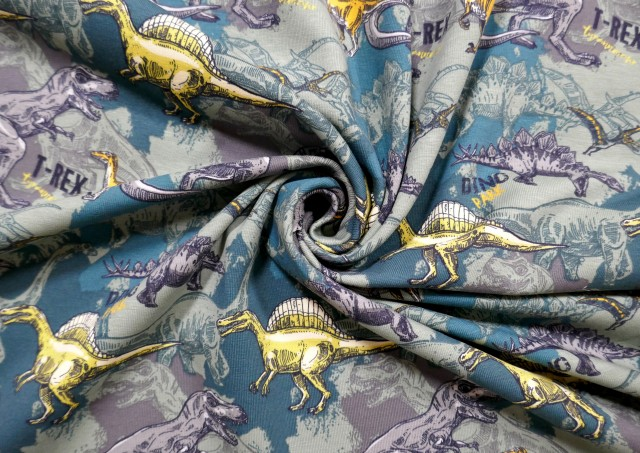 Tela de Punto Camiseta T-REX Dinosaurios