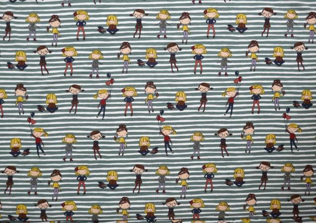 Tela de Punto Camiseta Chicas y Rallas de Colores
